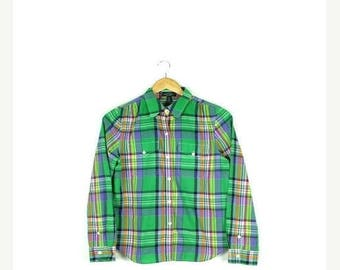 ON SALE Ralph Lauren  Green Plaid Cotton Long Sleeve Blouse from 90's*
