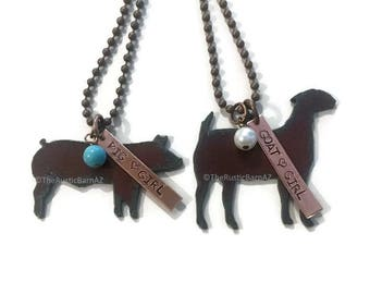 GOAT GIRL Show Goat or PIG Girl Show Pig Necklace made of Rustic Rusty Rusted Recycled Metal