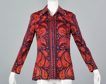 Small Vera Separates Long Sleeve Knit Blouse Vintage 1960s 60s Paisley Print Shirt Signature Print Top Wing Collar
