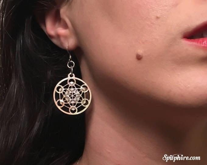Metatron's Cube Earrings - Mother of Pearl Sacred Geometry Earrings - Merkaba Earrings - Laser Cut Earrings