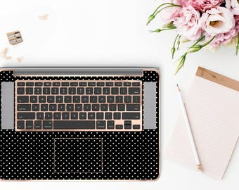 Mini Dot Polka and Rose Gold Detailing Inner Keyboard Tray Vinyl Skin for Apple Air & Retina , Macbook Pro 2017 - Platinum Edition