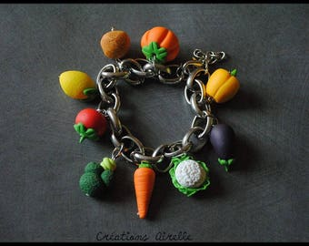 Bracelet made of polymer and chain fruits and vegetables