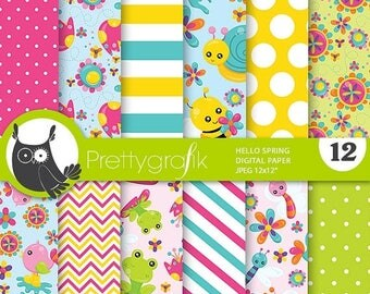 80% OFF SALE Spring digital paper, commercial use, spring flowers scrapbook papers, flower background, spring animals - PS787