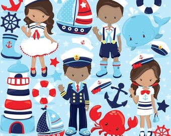 80% OFF SALE Nautical Kids clipart commercial use, sailor vector graphics, penguin digital clip art, digital images  - CL803