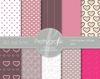 80% OFF SALE valentine, heart digital paper, commercial use, scrapbook papers, background - PS540