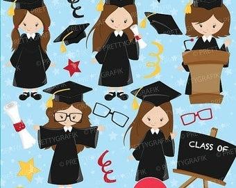 80% OFF SALE Graduation girls clipart commercial use, vector graphics, digital clip art, digital images - CL668