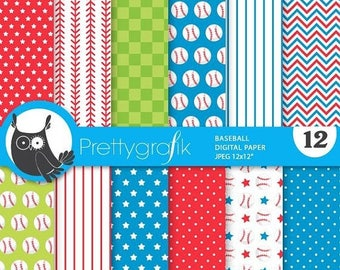 80% OFF SALE Baseball digital paper, commercial use,  scrapbook papers,  background, sports - PS868