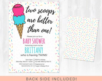 Twins Baby Shower Invitation, Ice cream Baby Shower, Two is better than one - All Colors - Baby Girl and/or Baby Boy - Printable Invitation