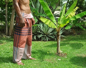 Cotton pelikat / boho / travellers / fisherman pants in salmon and blue design