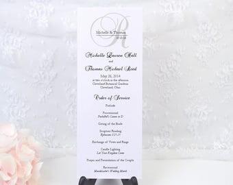 PRINTED Ceremony Program, Wedding Program, Order of Service, Elegant, Black, Classy, Calligraphy, Script, ELEGANT MONOGRAM Design