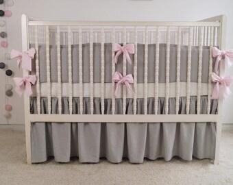 Gray crib  bedding - linen crib bedding - gathered skirt and 4 side bumper - girl crib bedding