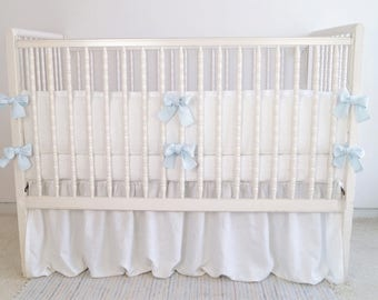 Crib  bedding -  bumper -  linen crib bedding  - boy crib bedding, boy nursery