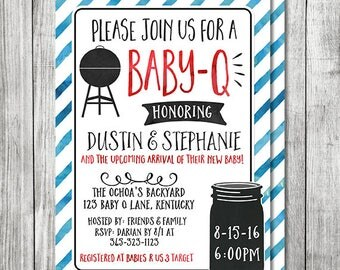 Baby Q Invite | Fourth of July BBQ Shower | Mason Jar Barbecue Invite | Barbecue Baby Shower - 5x7 JPG (Front and Back Design)