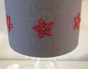 SALE Grey & Red Floral Drum lampshade
