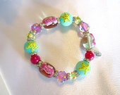 Vintage Designer Multi Colored Art Glass Beaded Stretch Bracelet By Kate & Macy, Seaside Theme, Aqua/Pink