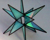 Turquoise Moravian Star, Suncatcher, Stained Glass 3-D Star, Small Iridescent Star, Christmas Star Ornament, 12 Point Stars, X'mas Gift