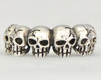 CHICUACE MIQUIZTLI Six Skull Ring sterling silver band style ring