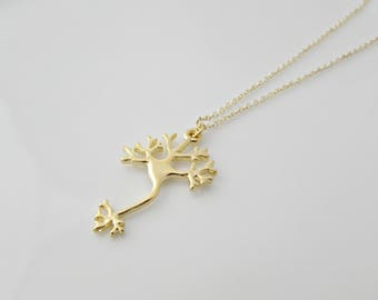 Gold Neuron Necklace, Nerve Cell Necklace, Brain Cell Necklace, Science Necklace, Biology Jewellery, Geekery Gifts, BFF Gifts, UK Seller