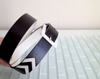 Ralph Lauren Black White Mod Leather Belt ITALY - Medium