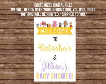 Double baby shower welcome sign, - DIGITAL FILES- Robots and woodland animals, twins, joint baby shower, decor, decoration