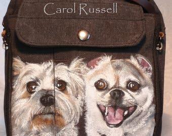 Canvas Messenger Travel Bag Painted with YOUR pet's portrait