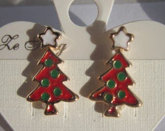 Earrings Metal Christmas tree pattern (B0 N11)