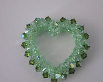 1 big heart in 38mm approximately (C2) swarovski crystal bicone-