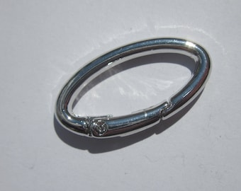Silver Oval clasp snap 16 x 32 cm (2040)