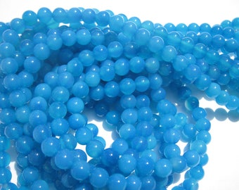"""8 """"blue colored agate"""" beads 6 mm (6-10)"""