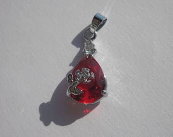 silver metal and cabochon glass 2,2 cm (12 PV48)