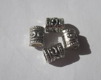 4 metal silver color-(28) tube shaped beads