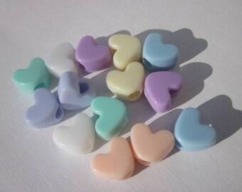 8 beads large hole 10 mm (Z12) Acrylic heart shaped