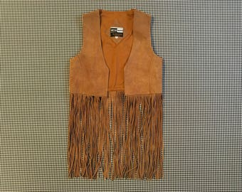 1980's, brown, suede, fringe, vest, Women's size Small