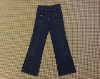 1970's, flare leg, Western style, pants in navy blue, Women's size XS