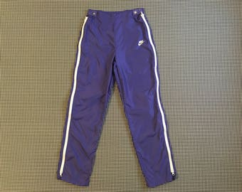 1980's, purple, nylon, zip-away pants, by Nike, Women's size Small