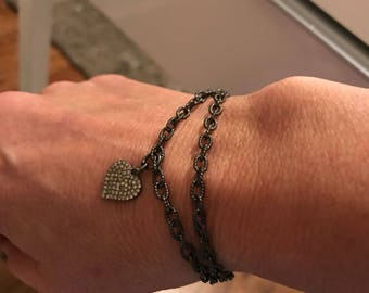 Sterling Silver Oxidized Textured Chain Bracelet with Oave Diamond Lobster Claw.  Pave Diamond Heart Charm