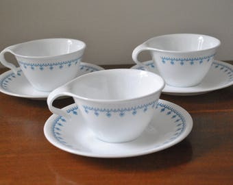 Set of 3 Corelle Livingware by Corning Snowflake Blue Garland Cup And Saucer Sets