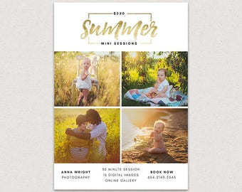 Mini Session Photography Marketing board - Summer Minis MSU008 - Photoshop template INSTANT DOWNLOAD