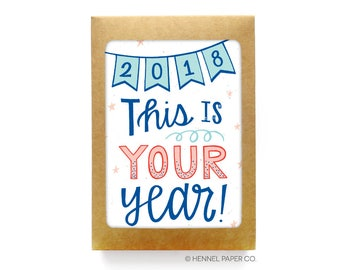 New Years Card Set - Boxed Set - Holiday Card Set - Happy New Year Card - 2018 This is your year! - 2018 Celebration card - encouragement