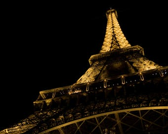 Below the Eiffel Tower - Photography, print, Paris, France, Colour, Night, Monument