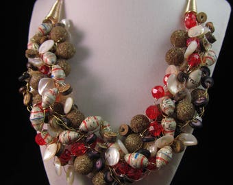 Wire Bead Crochet Necklace - Golden Shimmer