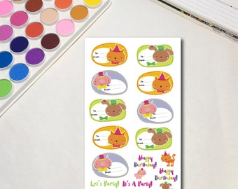 Pet Party Planner Sticker Sheets, The Ones for Parties, Gift Tags Party Kids Animals