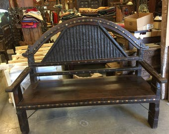 Antique Indian Bench Teak Sofa Hand Carved Iron Patina Vintage Eclectic Dark wood Hand crafted FREE SHIP