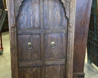 Antique Vintage Teak Window Terrace Door Arched Carved Jharokha & Floral Carved Solid Frame Rustic Luxe