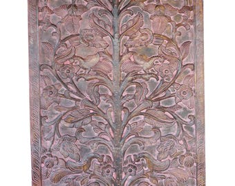 Artisan Handmade Vintage Hand Carved Door Panel Tree Of Dreams Altar Wall Hanging Eclectic Interior Design FREE SHIP Early Black Friday