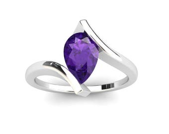 Amethyst Ring 1.00 Carat Pear Shape Amethyst Bypass Ring In 14k or 18k White Gold CF10PUW
