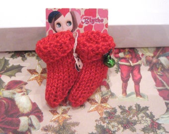 Blythe doll christmas socks knitted with bells fashion doll