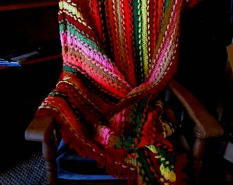 SALE! Vintage Crocheted Afghan Bright & Colorful