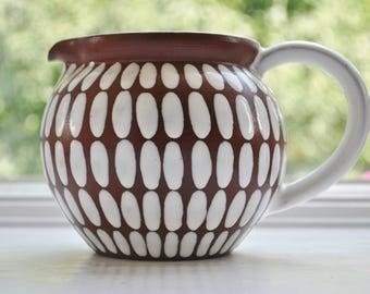 Ioska Denmark Pitcher Mid Century Scandinavian Modern Studio Pottery