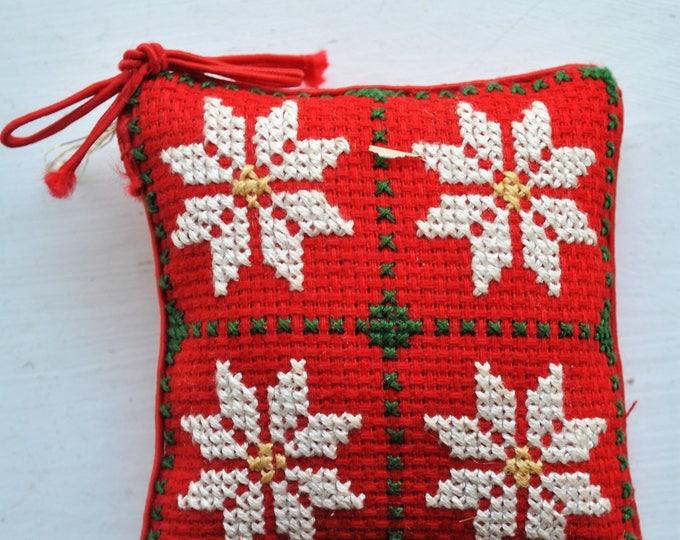 Vintage Scandinavian Needlepoint Red Pillow Ornament Christmas Jul